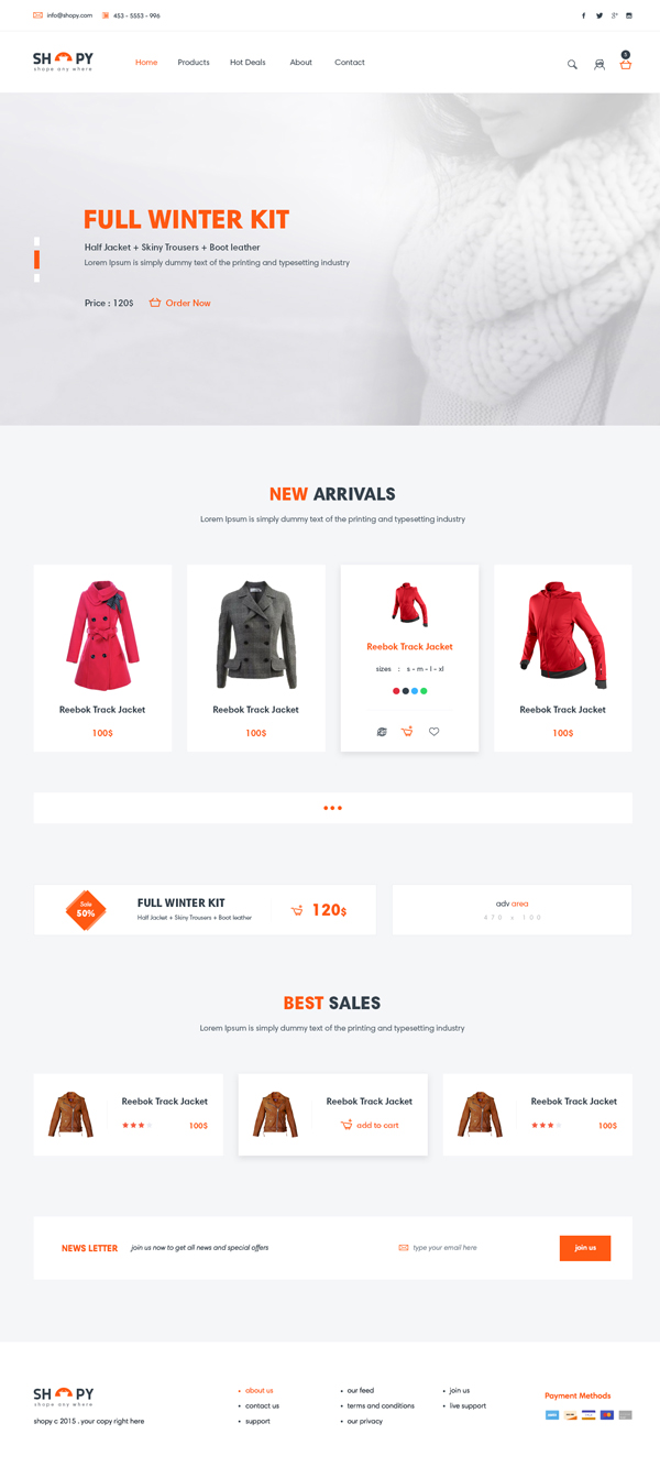 Shopy - Freebie Ecomerce PSD Template