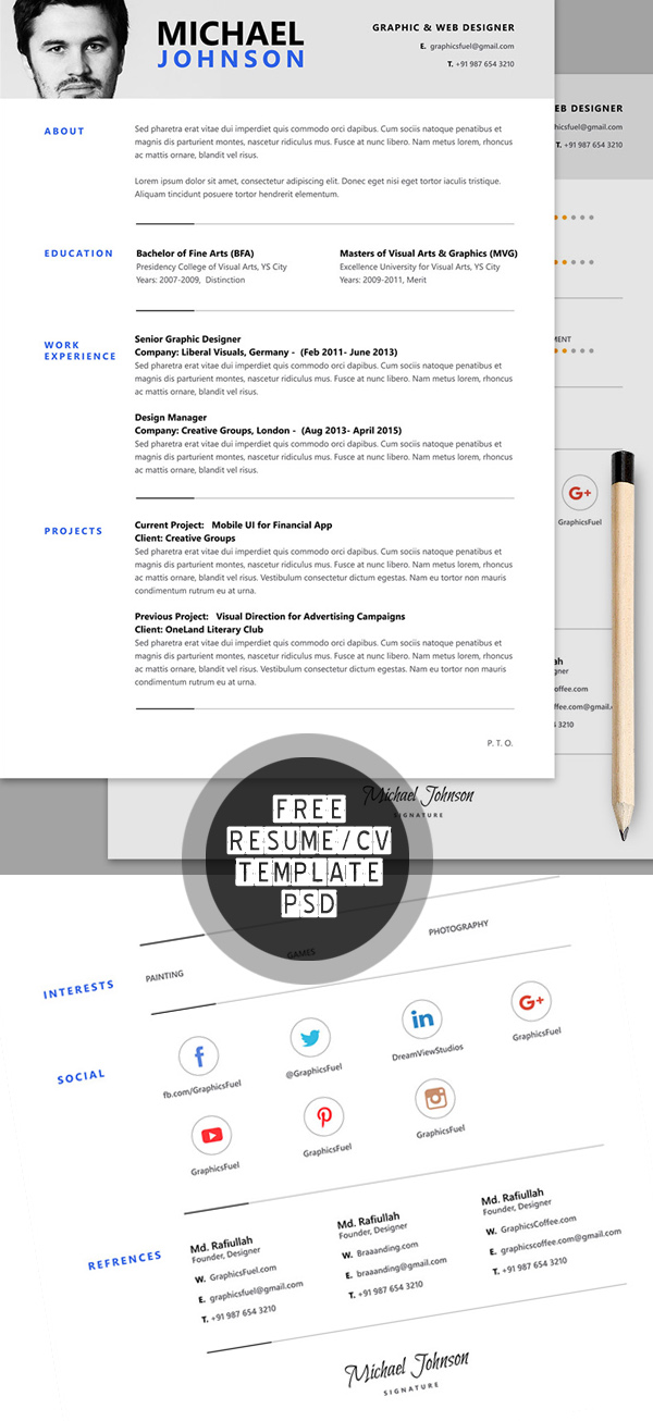 free resume cv psd template - Cv Resume Format Download