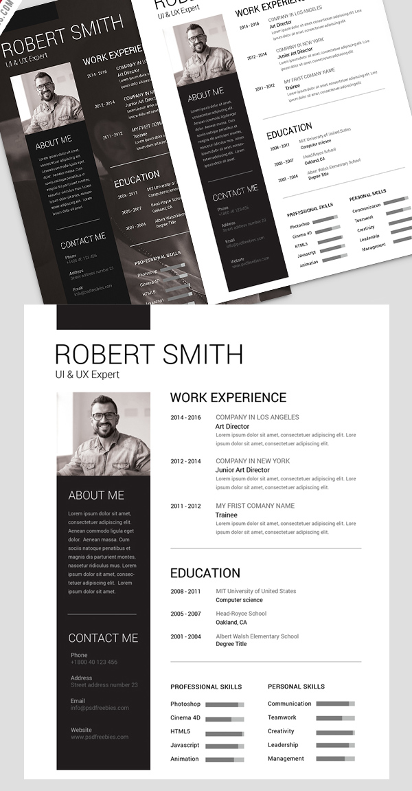 15 Free Psd Cv/Resume And Cover Letter Templates | Freebies