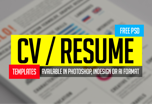 15 Free PSD CV/Resume and Cover Letter Templates