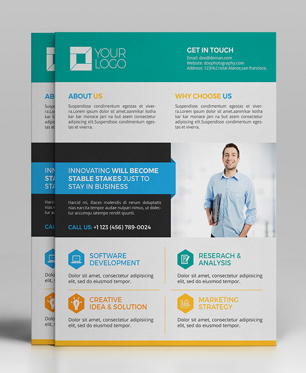 Professional Corporate Flyer Templates Design Graphic - Brochure flyer templates