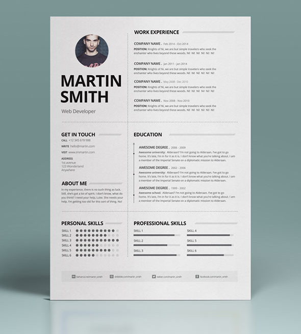50 Best Minimal Resume Templates Design Graphic Design
