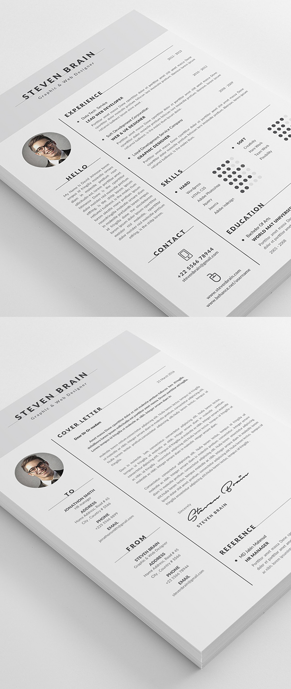 Modern cv resume templates with cover letter design graphic resume template cv template with modern design yelopaper Images