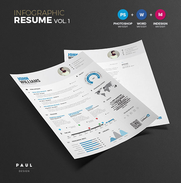 Modern Cv  Resume Templates With Cover Letter  Design  Graphic