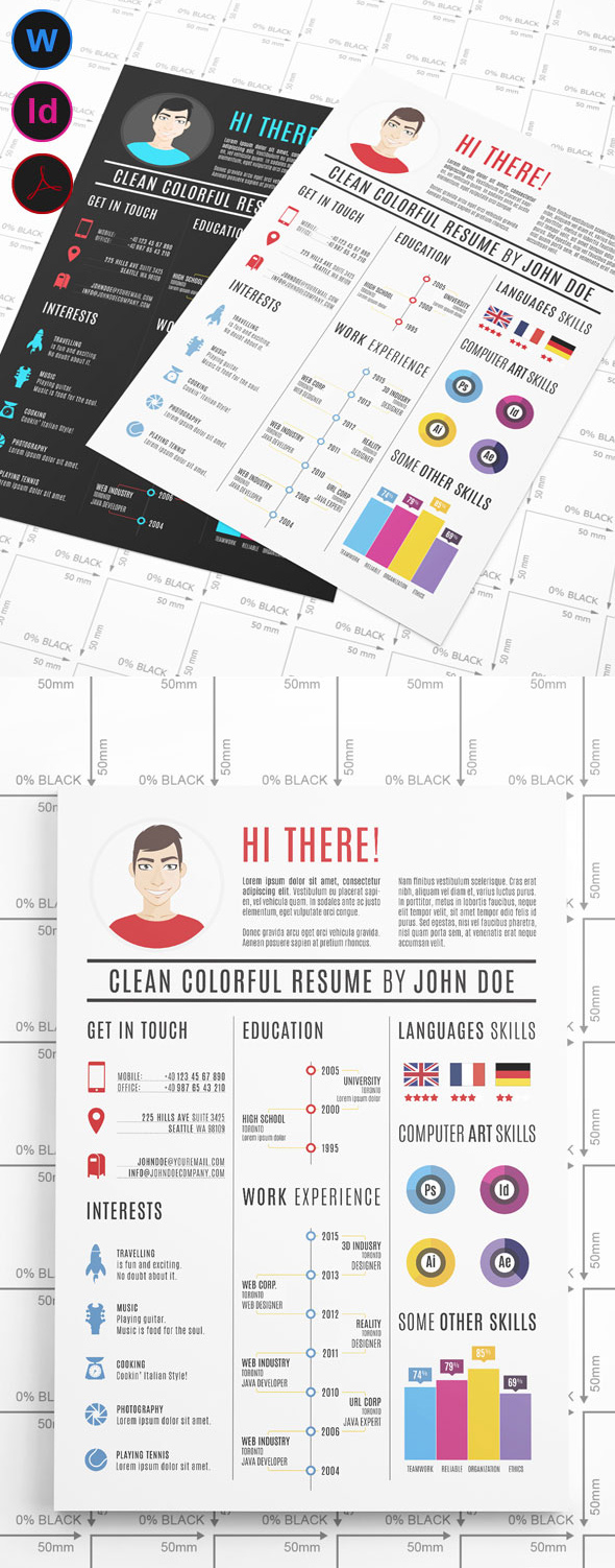 Clean Colorful Resume Template  Colorful Resume Templates