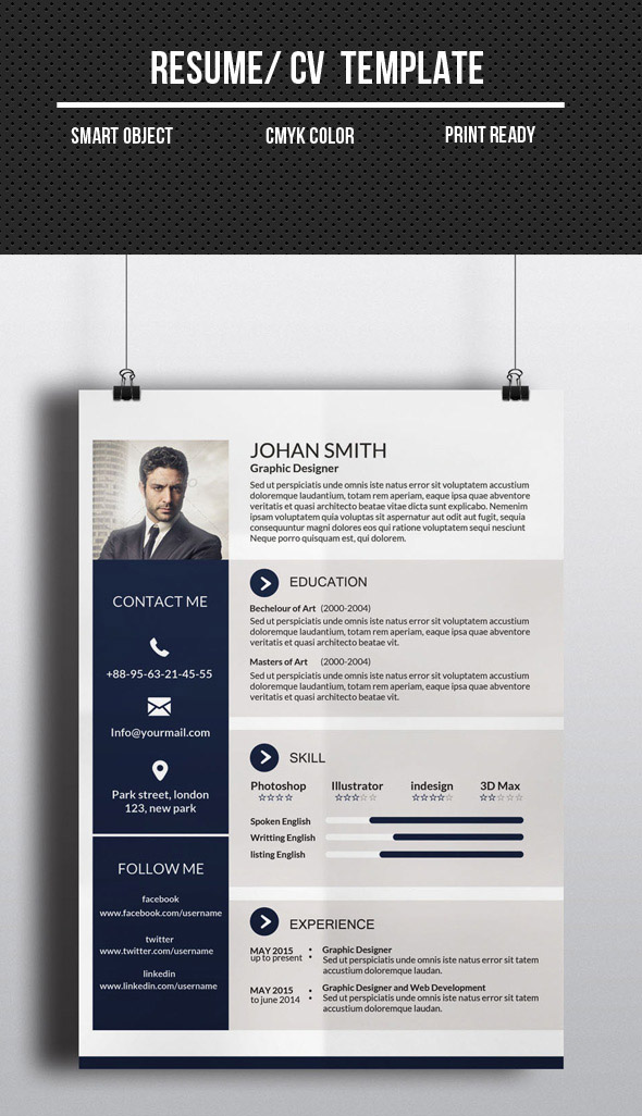 corporate one page cvresume template