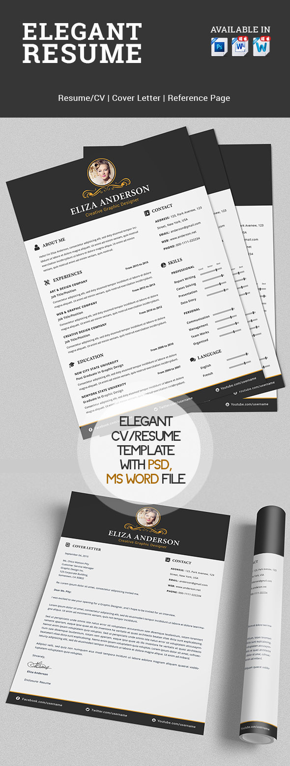 Elegant Resume/CV Set with PSD & MS Word File