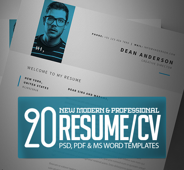 20 Modern CV / Resume Templates and Cover Letter