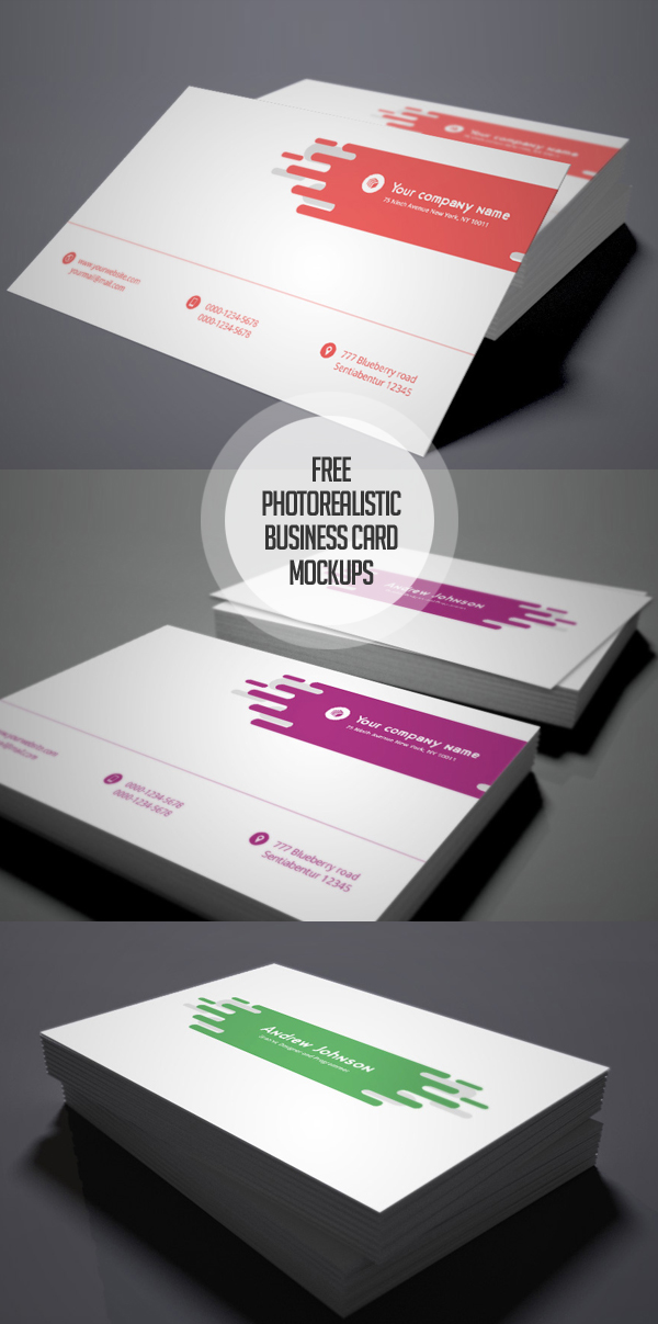 Free Photorealistic Business Card Mockups