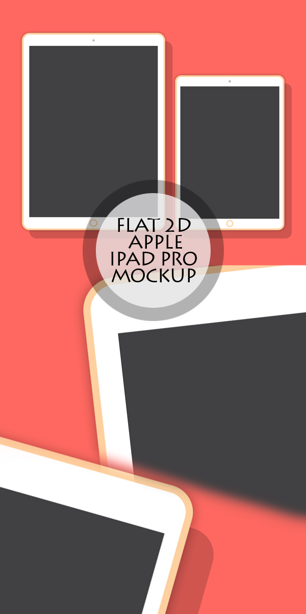 Free Flat 2D Apple 12.9 and 9.7 Inch iPad Pro Mockup