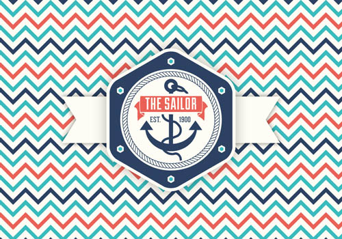 Feee Retro Nautical Label Vector Graphic