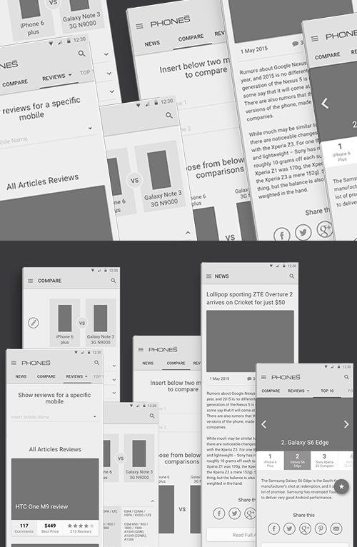 Free PSD Wireframes for Phones Reviews - Material Design
