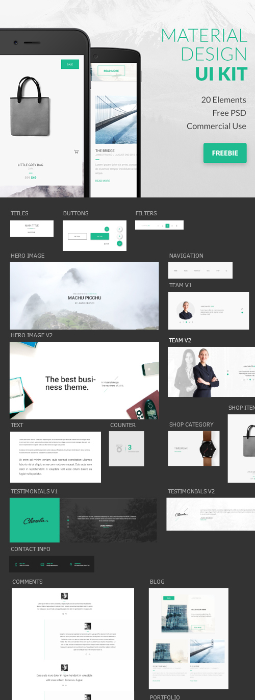 Free Google Material Design PSD UI Kit