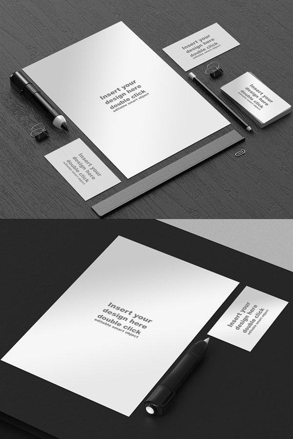 Free Black And White Stationery Mockup