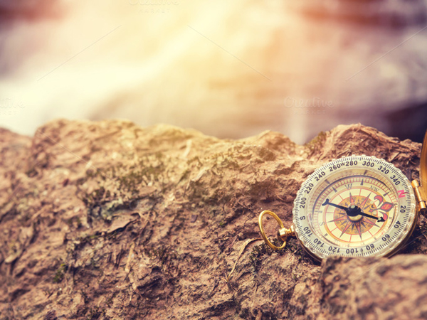 The retro compass, vintage photo