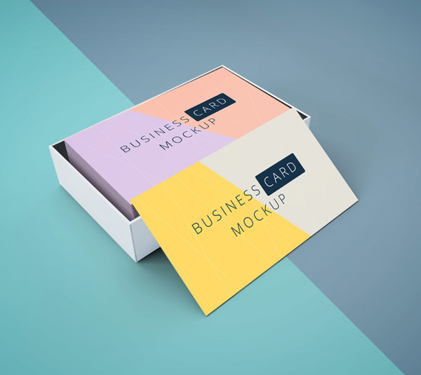 Free Business Card Mockup In Cardboard Box