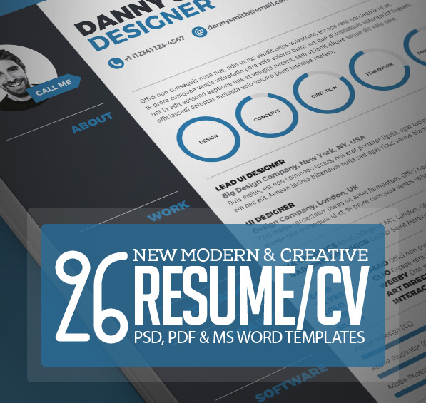 26 Creative CV / Resume Templates with Cover Letter & Portfolio Page ...