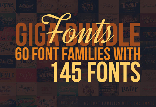 Custom Fonts – 60 Font Bundles with 145 Amazing Fonts