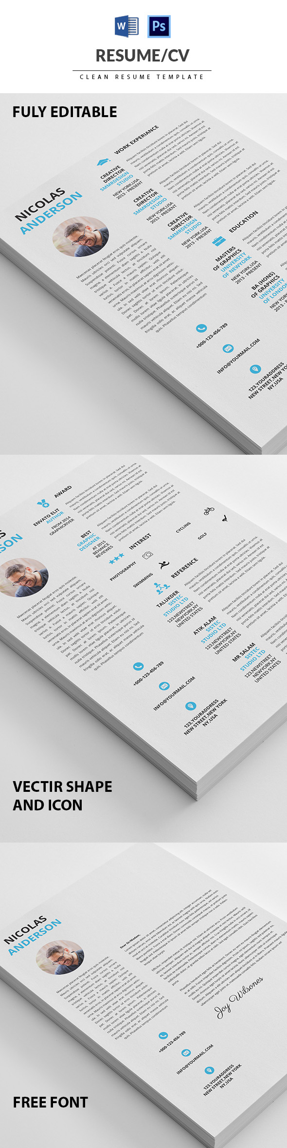 Clean Resume/CV Minimal Template