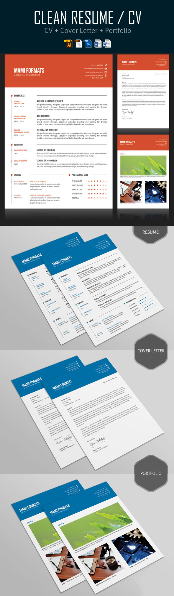 26 Creative CV Resume Templates with Cover Letter Portfolio – Portfolio Cover Page Template