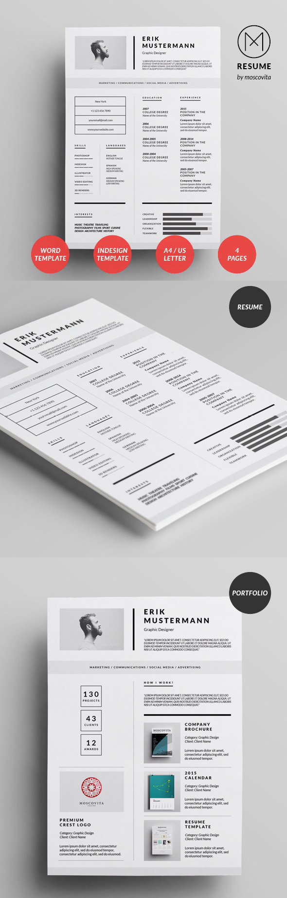 Creative Cv  Resume Templates With Cover Letter  Portfolio Page