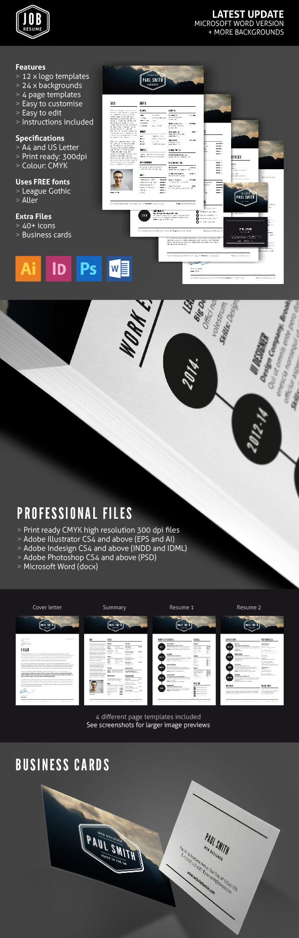 Job Resume Template Set (With Logos & Business Cards)