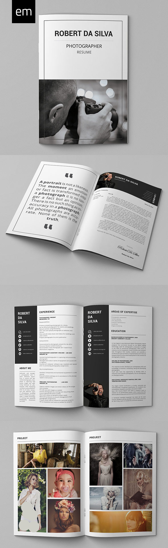 26 Creative CV Resume Templates with Cover Letter Portfolio Page