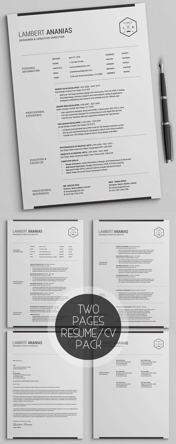 Two Pages Resume CV Pack  Pages Resume Template