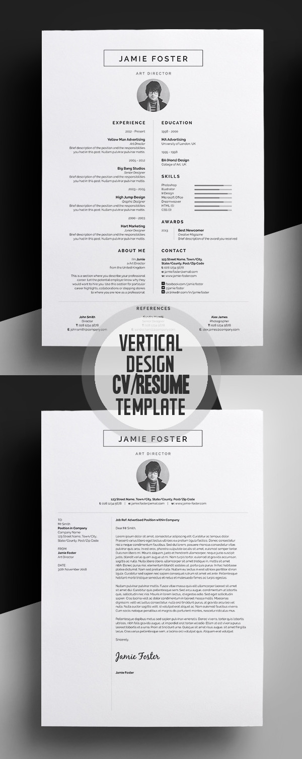 beautiful vertical design cvresume template - Graphic Design Resume Template