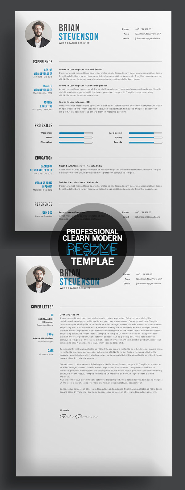 creative clearn professional resume template - Resume Templates For Graphic Designers