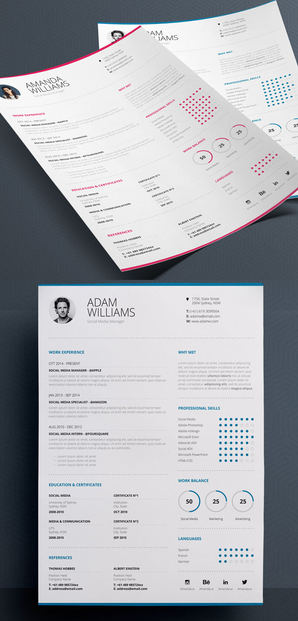 18 professional cv resume templates and cover letter