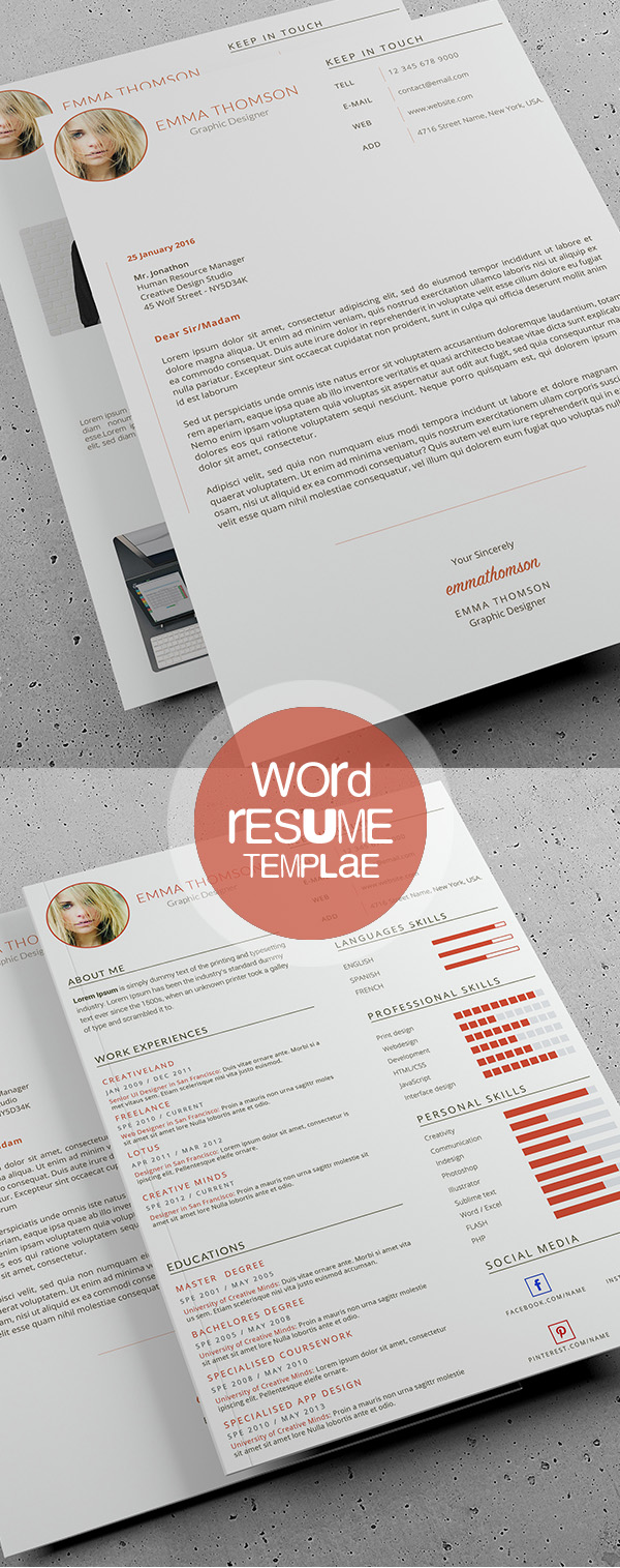 18 Professional CV / Resume Templates and Cover Letter | Design ...