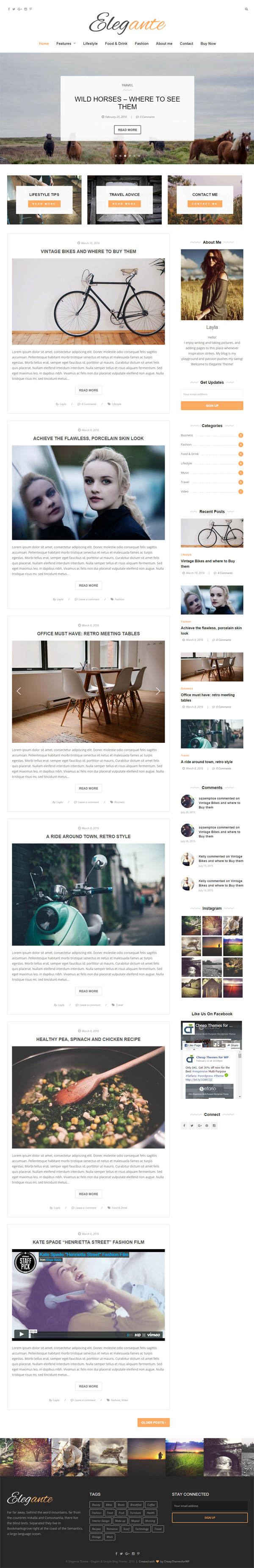 Elegante - Clean & Elegant WordPress Blog Theme