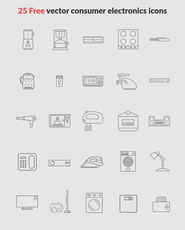 Free Vector Cunsumer Electronics Icons (25 Icons)