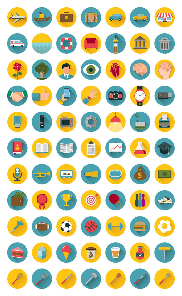 Free Flat Icons Bundle (77 Icons)