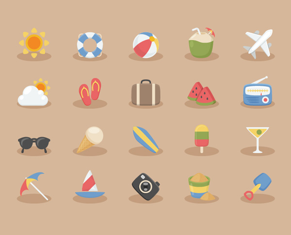 Free Vacation Time Vector Icons (20 Icons)