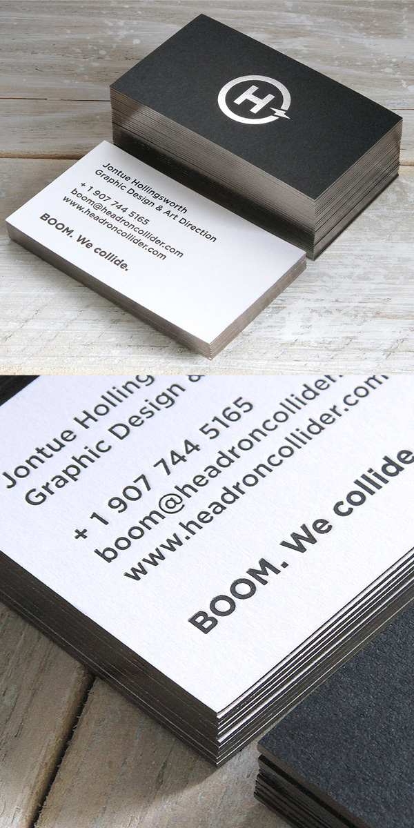Letterpress business cards 26 new examples design graphic headron collider branding and letterpress business card colourmoves