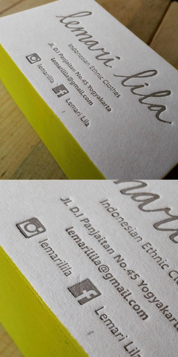 Colored Corner Letterpress Business Card