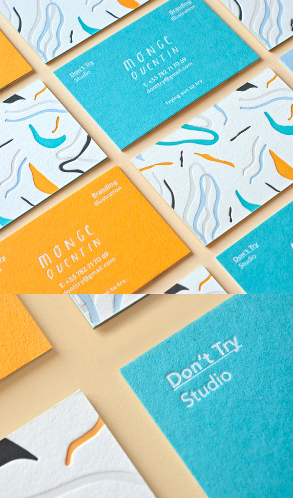 Letterpress business cards 26 new examples design graphic set of colorful business cards reheart Image collections