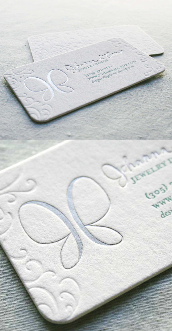 Johanna d'Camp Branding LetterPress Business Card
