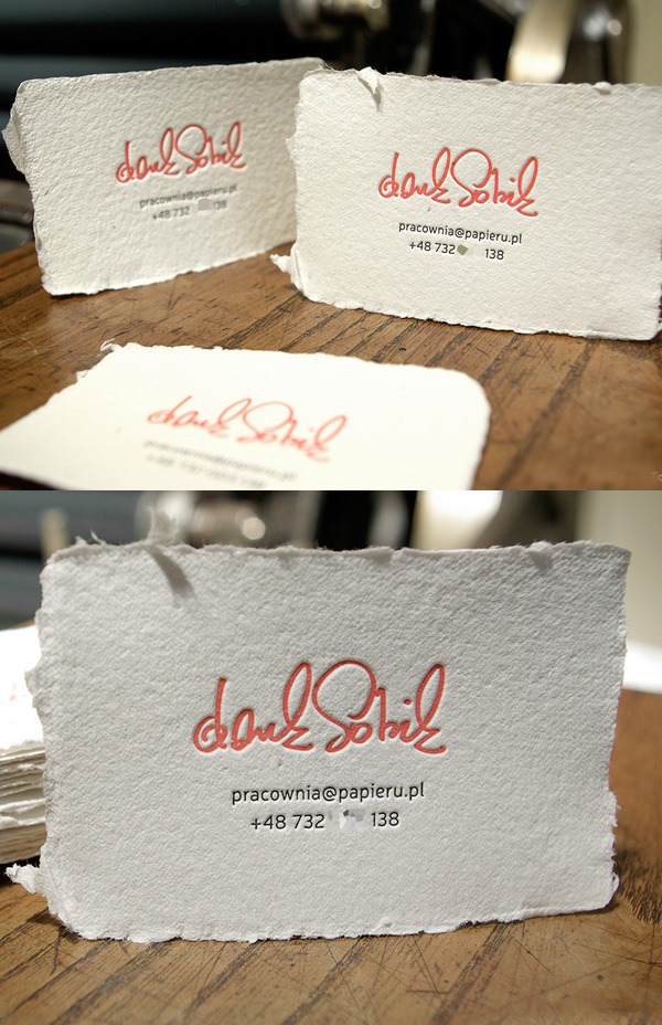 Letterpress Handcrafted Paper Business Card