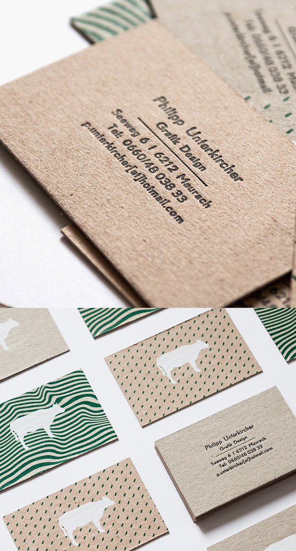 Silkscreen and Letterpress Printed Business Cards