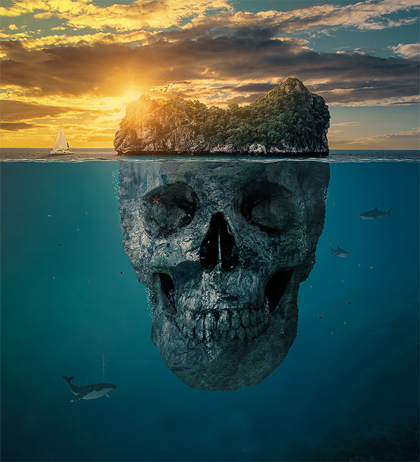 Create a Mysterious Skull Island in Photoshop CC