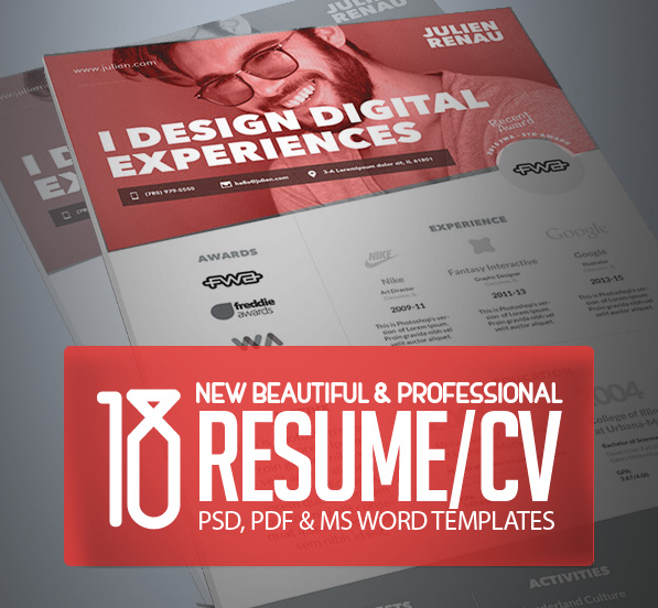 18 Professional Cv / Resume Templates And Cover Letter | Design