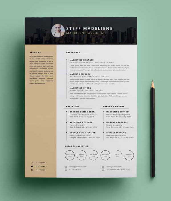Free CV Resume Templates PSD Mockups Freebies Graphic - Cool resume templates free download