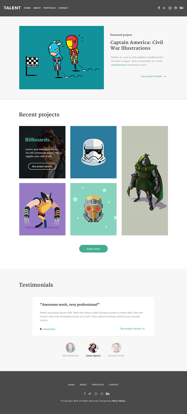 Talent - Free Illustrator Portfolio PSD Website Template