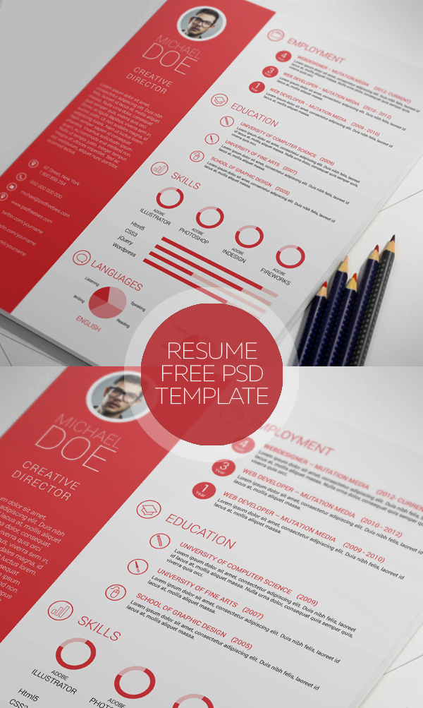 clean and professional resume free psd - Contemporary Resume Templates Free
