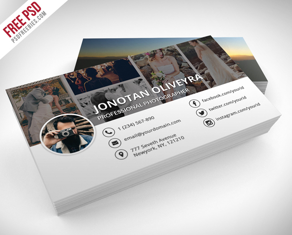 30 free business card psd templates mockups design graphic free professional photographer business card psd template accmission Gallery
