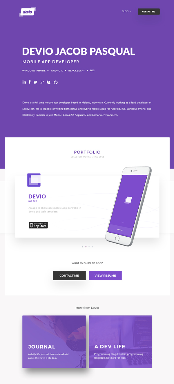 Devio - Free One Page Portfolio Website Template PSD