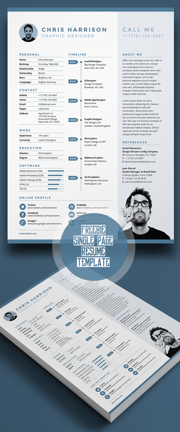Free Single Page Resume Template Psd   Resume Templates With Photo  Free Templates For Resumes